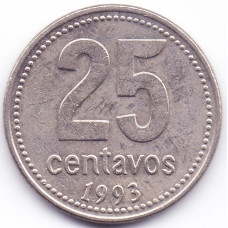 25 сентаво 1993 Аргентина - 25 centavo 1993 Argentina, серый цвет, из оборота