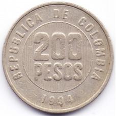 200 песо 1994 Колумбия - 200 pesos 1994 Colombia, из оборота