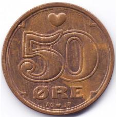 50 эре 1994 Дания - 50 ore 1994 Denmark, из оборота