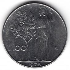 100 лир 1976 Италия - 100 lire 1976 Italy, из оборота