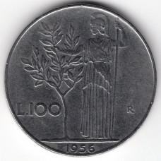 100 лир 1956 Италия - 100 lire 1956 Italy, из оборота
