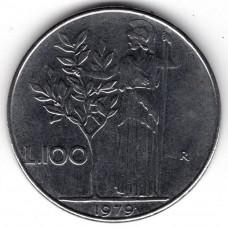 100 лир 1979 Италия - 100 lire 1979 Italy, из оборота