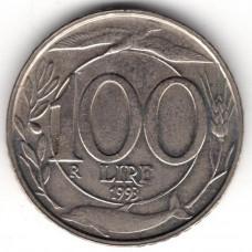 100 лир 1993 Италия - 100 lire 1993 Italy, из оборота