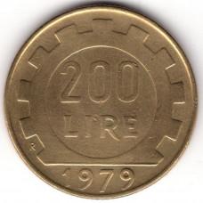 200 лир 1979 Италия - 200 lire 1979 Italy, из оборота
