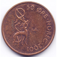 50 эре 2001 Норвегия - 50 ore 2001 Norway, из оборота