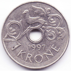 1 крона 1997 Норвегия - 1 krone 1997 Norway, из оборота