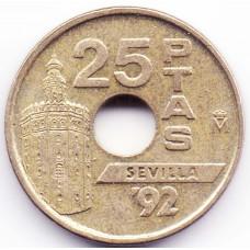 25 песет 1992 Испания - 25 pesetas 1992 Spain, из оборота