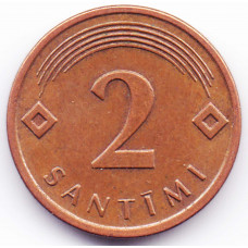 2 сантима 2009 Латвия - 2 centimes 2009 Latvia, из оборота