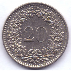 20 раппенов 1968 Швейцария - 20 rappenes 1968 Switzerland, из оборота