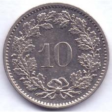 10 раппенов 1981 Швейцария - 10 rappenes 1981 Switzerland, из оборота