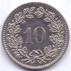 10 раппенов 1982 Швейцария - 10 rappenes 1982 Switzerland, из оборота