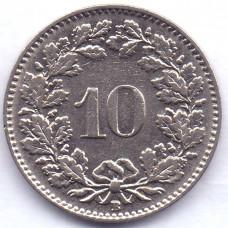 10 раппенов 1936 Швейцария - 10 rappenes 1936 Switzerland, из оборота