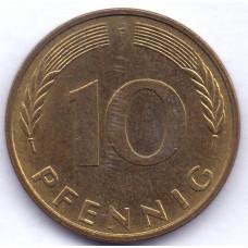 10 пфеннигов 1995 Германия - 10 pfennigs 1995 Germany, F, из оборота