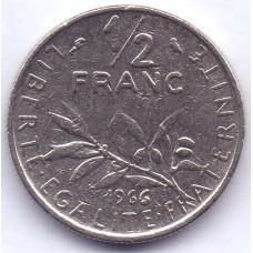 ½ франка 1966 Франция - ½ franc 1966 France, из оборота