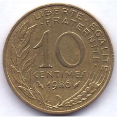 10 сантимов 1986 Франция - 10 centimes 1986 France, из оборота