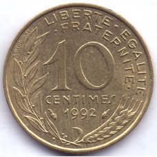 10 сантимов 1992 Франция - 10 centimes 1992 France, из оборота
