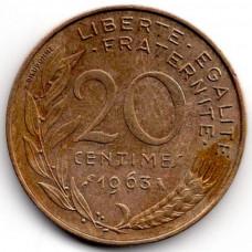 20 сантимов 1963 Франция - 20 centimes 1963 France, из оборота