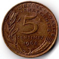 5 сантимов 1968 Франция - 5 centimes 1968 France, из оборота