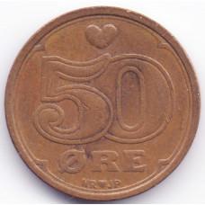 50 эре 1989 Дания - 50 ore 1989 Denmark, из оборота