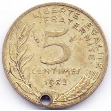 5 сантимов 1982 Франция - 5 centimes 1982 France, из оборота