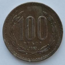 100 песо 1993 Чили - 100 pesos 1993 Chile, из оборота