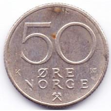50 эре 1988 Норвегия - 50 ore 1988 Norway, из оборота