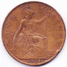 1 пенни 1921 Великобритания - 1 penny 1921 Great Britain, из оборота