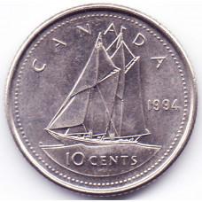 10 центов 1994 Канада - 10 cents 1994 Canada, из оборота