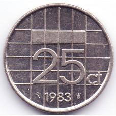 25 центов 1983 Нидерланды - 25 cent 1983 Netherlands, из оборота