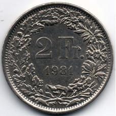 2 франка 1981 Швейцария - 2 francs 1981 Switzerland, из оборота