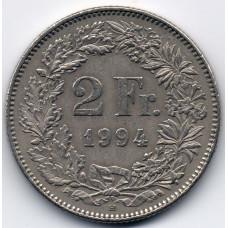 2 франка 1994 Швейцария - 2 francs 1994 Switzerland, из оборота