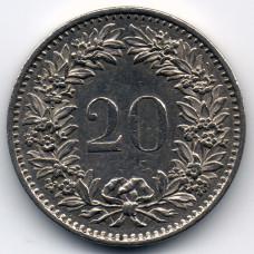 20 раппенов 1976 Швейцария - 20 rappenes 1976 Switzerland, из оборота