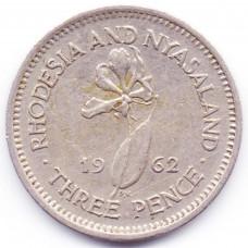 3 пенса 1962 Родезия и Ньясаленд - 3 pence 1962 Rhodesia and Nyasaland, из оборота