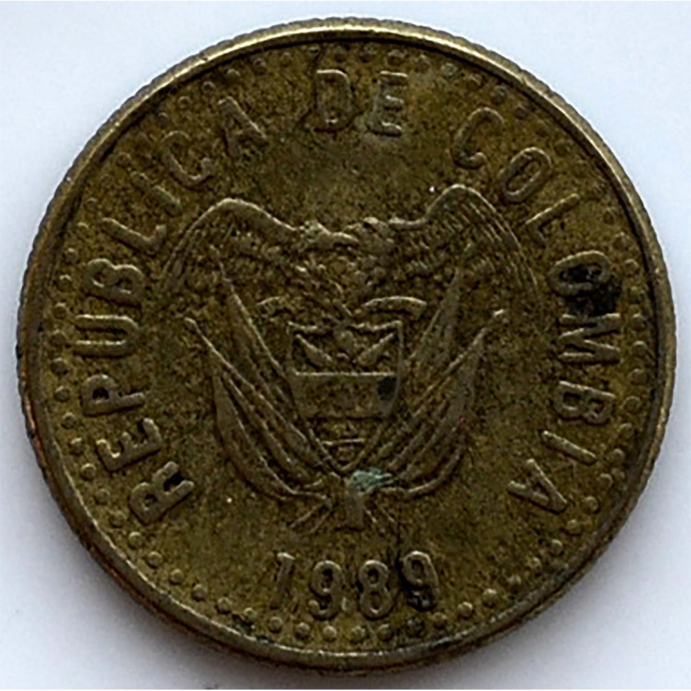 5 песо 1989 Колумбия - 5 pesos 1989 Colombia, из оборота