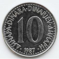 10 динаров 1987 Югославия - 10 dinars 1987 Yugoslavia, из оборота