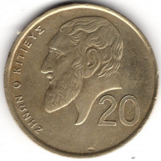 20 центов 1993 Кипр - 20 cents 1993 Cyprus, из оборота