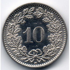 10 раппенов 2010 Швейцария - 10 rappenes 2010 Switzerland, из оборота