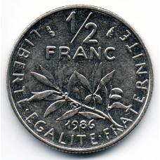 ½ франка 1986 Франция - ½ franc 1986 France, из оборота