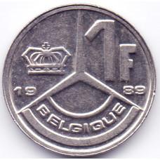 1 франк 1989 Бельгия - 1 franc 1989 Belgium, Q, из оборота