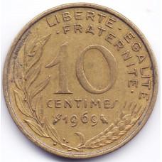 10 сантимов 1969 Франция - 10 centimes 1969 France, из оборота