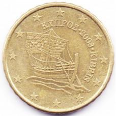 10 евроцентов 2008 года Кипр - 10 euro cents 2008 Cyprus, из оборота