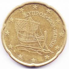 20 евроцентов 2008 года Кипр - 20 euro cents 2008 Cyprus, из оборота