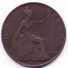 1 пенни 1906 Великобритания - 1 penny 1906 Great Britain, из оборота