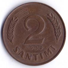 2 сантима 1939 Латвия - 2 santimi 1939 Latvia