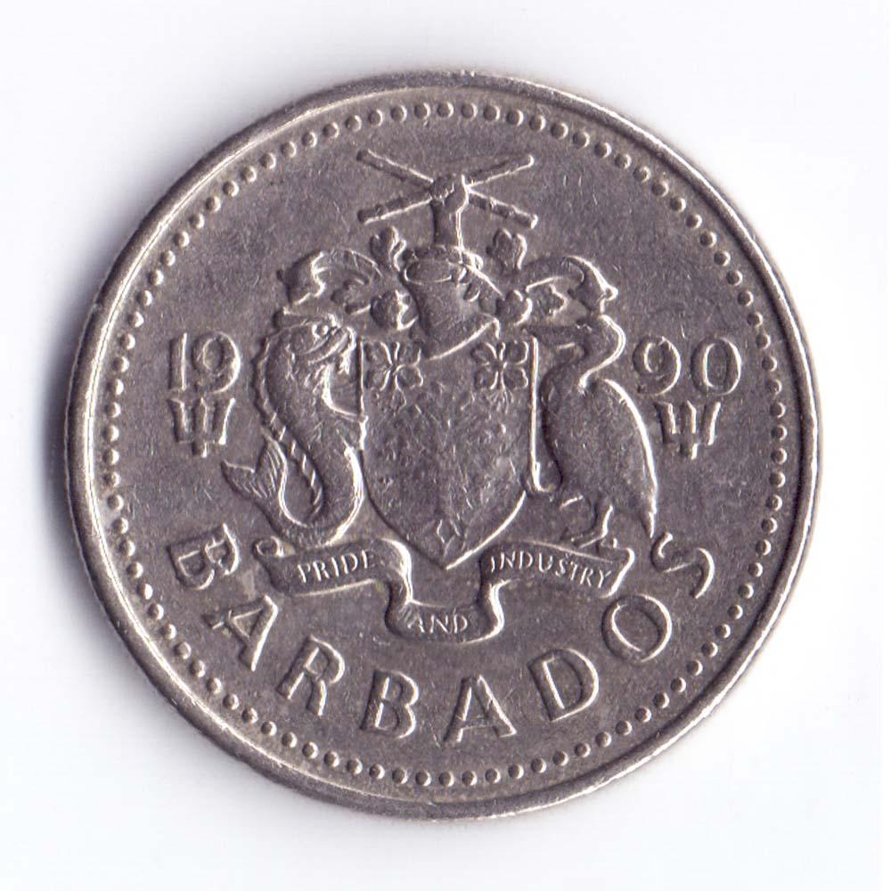 25 центов 1990 Барбадос