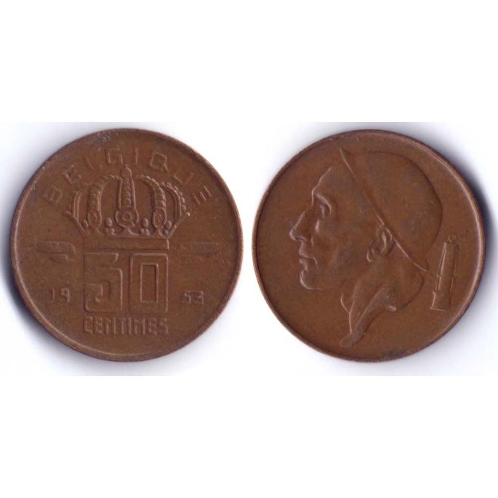50 Centim BELGIQUE 1953 Q -  50 Сантим Бельгия 1953 Q