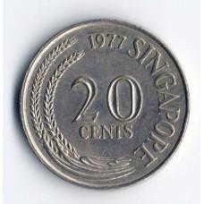 20 центов 1977 Сингапур - 20 cents 1977 Singapore, из оборота