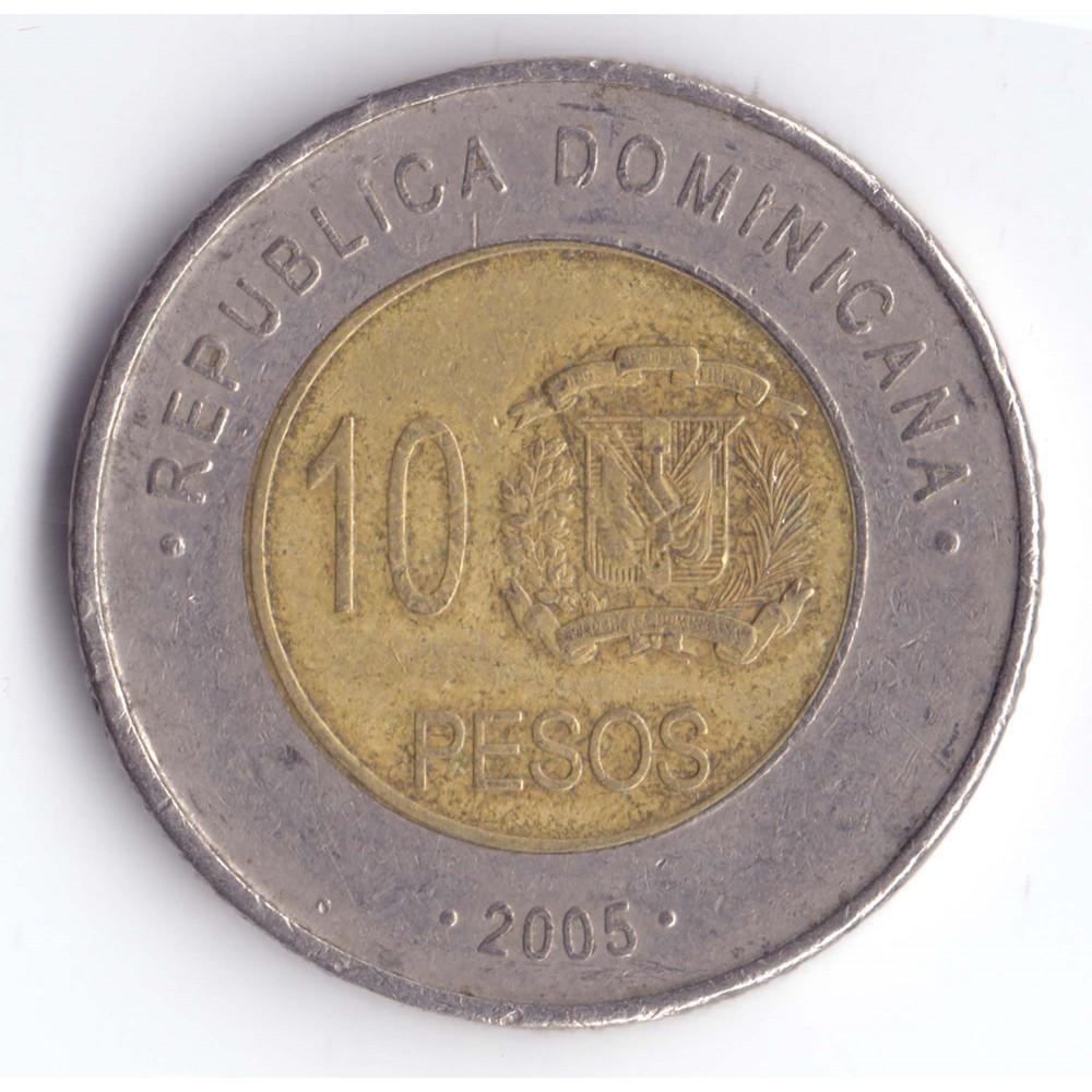 10 Peso 2005 Republica Dominicana - 10 Песо 2005 Республика Доминикана, из оборота