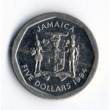 5 долларов 1994 Ямайка - 5 dollars 1994 Jamaica, из оборота