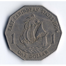 1 доллар 1996 Восточно-Карибские штаты - 1 dollar 1996 East Caribbean states, из оборота